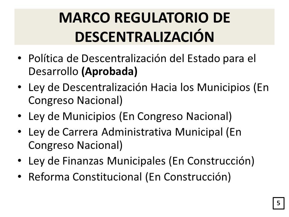 MARCO REGULATORIO DE DESCENTRALIZACIÓN Política de Descentralización del Estado para el Desarrollo (Aprobada) Ley de Descentralización Hacia los Munic