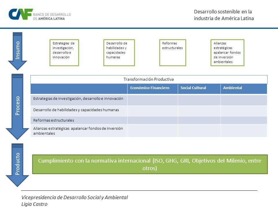 Vicepresidencia de Desarrollo Social y Ambiental Ligia Castro Desarrollo sostenible en la industria de América Latina Cumplimiento con la normativa in