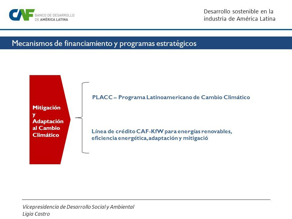 Mitigación y Adaptación al Cambio Climático PLACC – Programa Latinoamericano de Cambio C limático Línea de crédito CAF-KfW para energías renovables,ef
