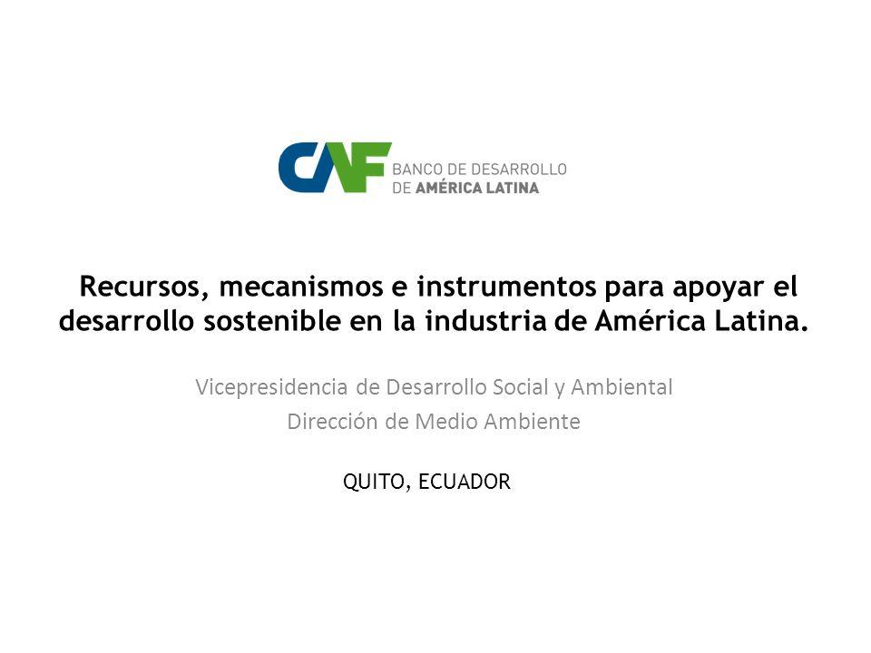 Recursos, mecanismos e instrumentos para apoyar el desarrollo sostenible en la industria de América Latina. Vicepresidencia de Desarrollo Social y Amb