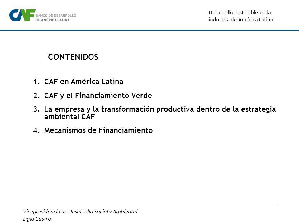 Vicepresidencia de Desarrollo Social y Ambiental Ligia Castro Desarrollo sostenible en la industria de América Latina CONTENIDOS 1.CAF en América Lati