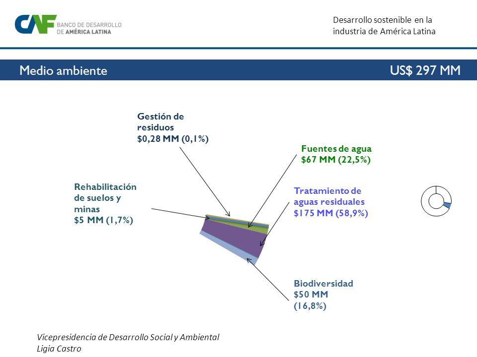 Vicepresidencia de Desarrollo Social y Ambiental Ligia Castro Desarrollo sostenible en la industria de América Latina Medio ambiente US$ 297 MM Fuente