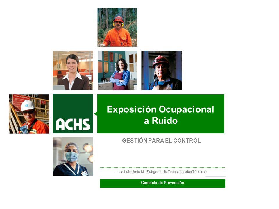 ________ __ __ ____________ Protocolo de Exposición Ocupacional a Ruido (PREXOR) José Luis Urnía M.- Subgerencia Especialidades Técnicas Exposición Oc