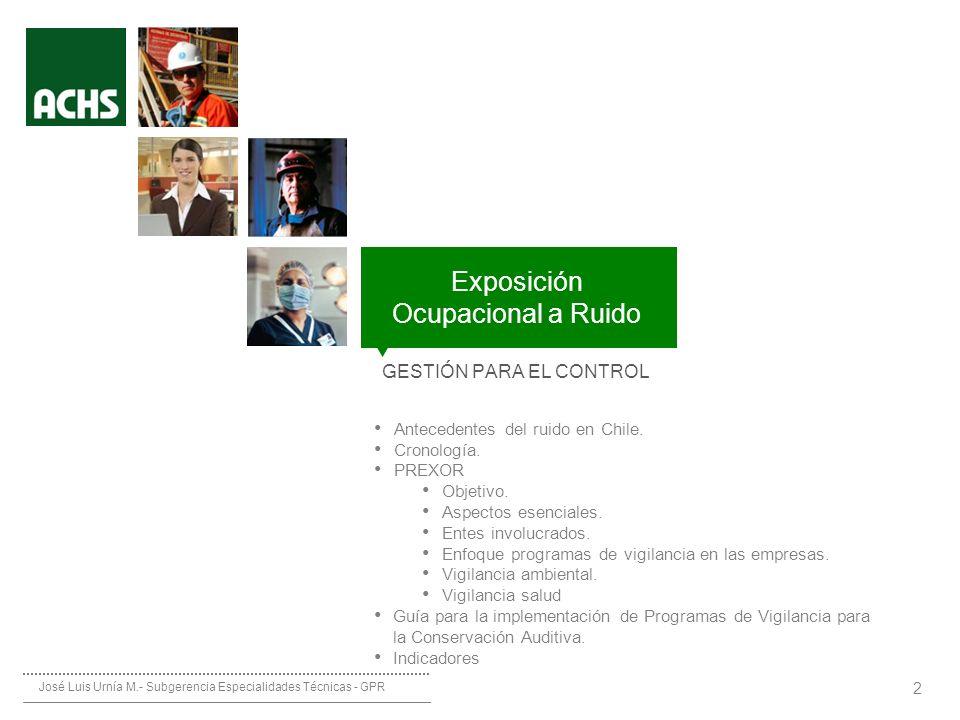 ________ __ __ ____________ Protocolo de Exposición Ocupacional a Ruido (PREXOR) 2 GESTIÓN PARA EL CONTROL Antecedentes del ruido en Chile. Cronología