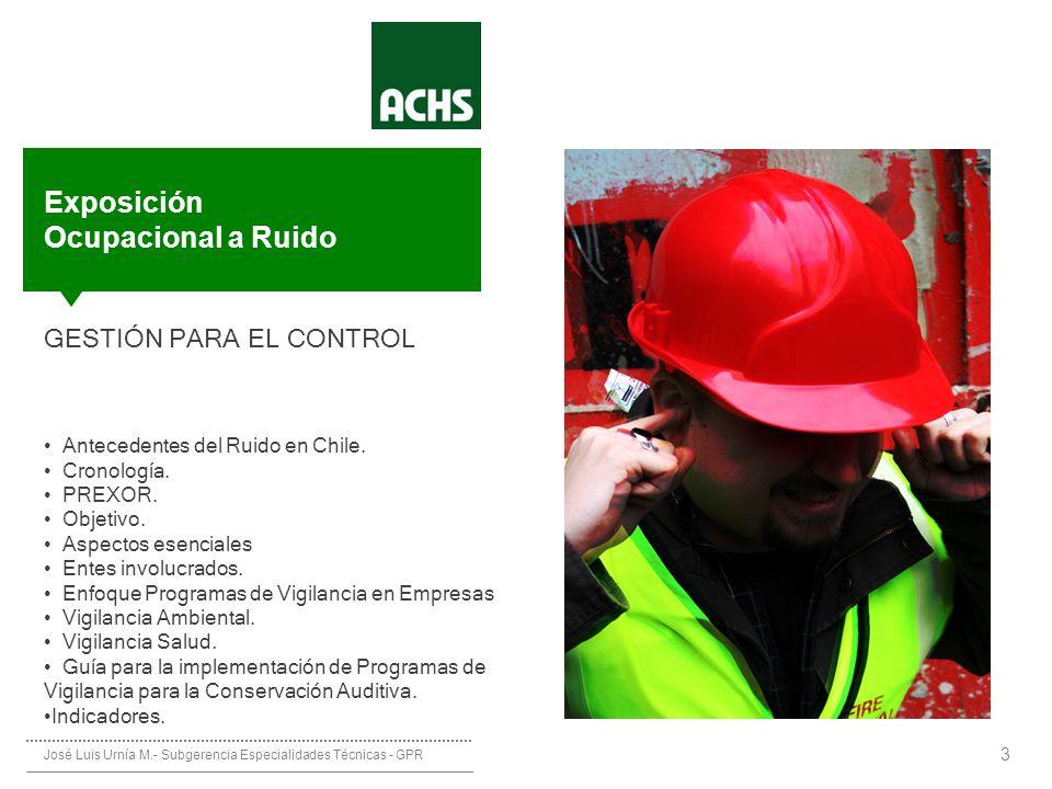 ________ __ __ ____________ Protocolo de Exposición Ocupacional a Ruido (PREXOR) 3 GESTIÓN PARA EL CONTROL Antecedentes del Ruido en Chile. Cronología