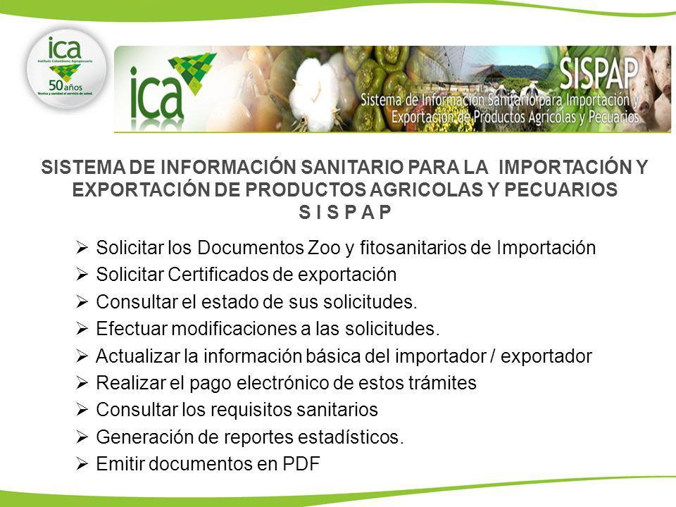 SISTEMA DE INFORMACIÓN SANITARIO PARA LA IMPORTACIÓN Y EXPORTACIÓN DE PRODUCTOS AGRICOLAS Y PECUARIOS S I S P A P Solicitar los Documentos Zoo y fitos