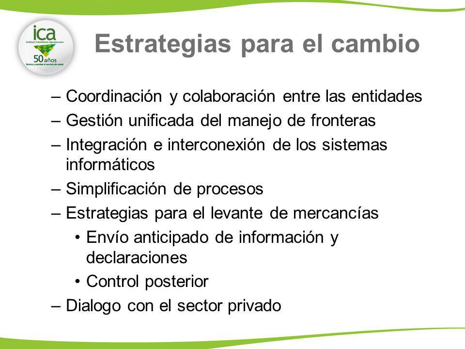 Estrategias para el cambio –Coordinación y colaboración entre las entidades –Gestión unificada del manejo de fronteras –Integración e interconexión de los sistemas informáticos –Simplificación de procesos –Estrategias para el levante de mercancías Envío anticipado de información y declaraciones Control posterior –Dialogo con el sector privado