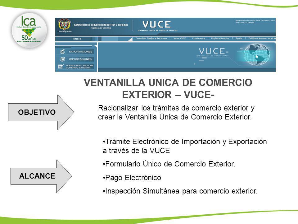 VENTANILLA UNICA DE COMERCIO EXTERIOR – VUCE- OBJETIVO Racionalizar los trámites de comercio exterior y crear la Ventanilla Única de Comercio Exterior.