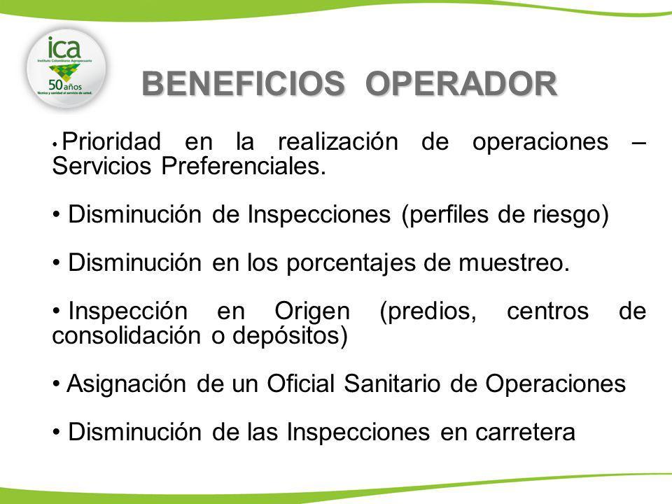 BENEFICIOS OPERADOR Prioridad en la realización de operaciones – Servicios Preferenciales. Disminución de Inspecciones (perfiles de riesgo) Disminució