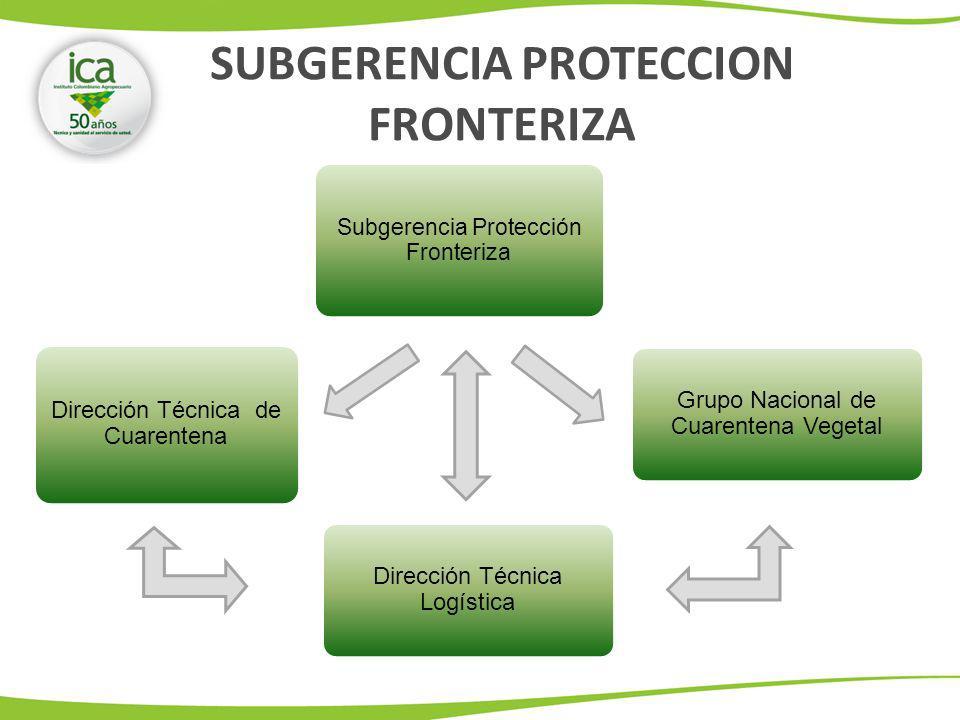 Subgerencia Protección Fronteriza Dirección Técnica de Cuarentena Dirección Técnica Logística Grupo Nacional de Cuarentena Vegetal SUBGERENCIA PROTECCION FRONTERIZA