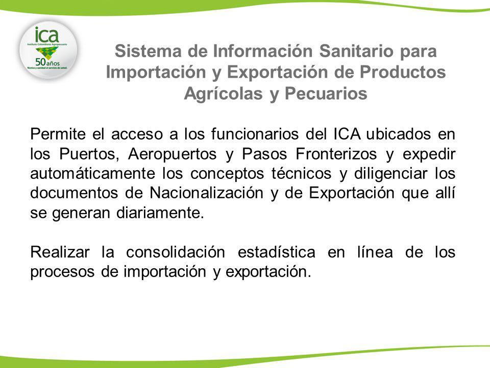 Permite el acceso a los funcionarios del ICA ubicados en los Puertos, Aeropuertos y Pasos Fronterizos y expedir automáticamente los conceptos técnicos