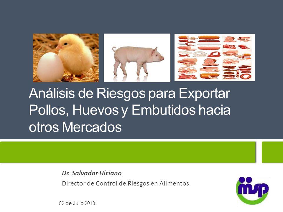Análisis de Riesgos para Exportar Pollos, Huevos y Embutidos hacia otros Mercados Dr. Salvador Hiciano Director de Control de Riesgos en Alimentos 02