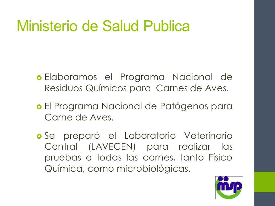 Ministerio de Salud Publica Elaboramos el Programa Nacional de Residuos Químicos para Carnes de Aves. El Programa Nacional de Patógenos para Carne de