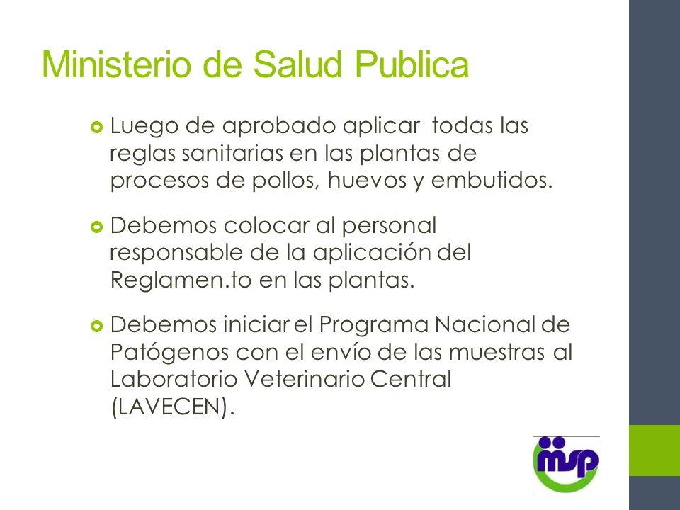 Ministerio de Salud Publica Luego de aprobado aplicar todas las reglas sanitarias en las plantas de procesos de pollos, huevos y embutidos. Debemos co