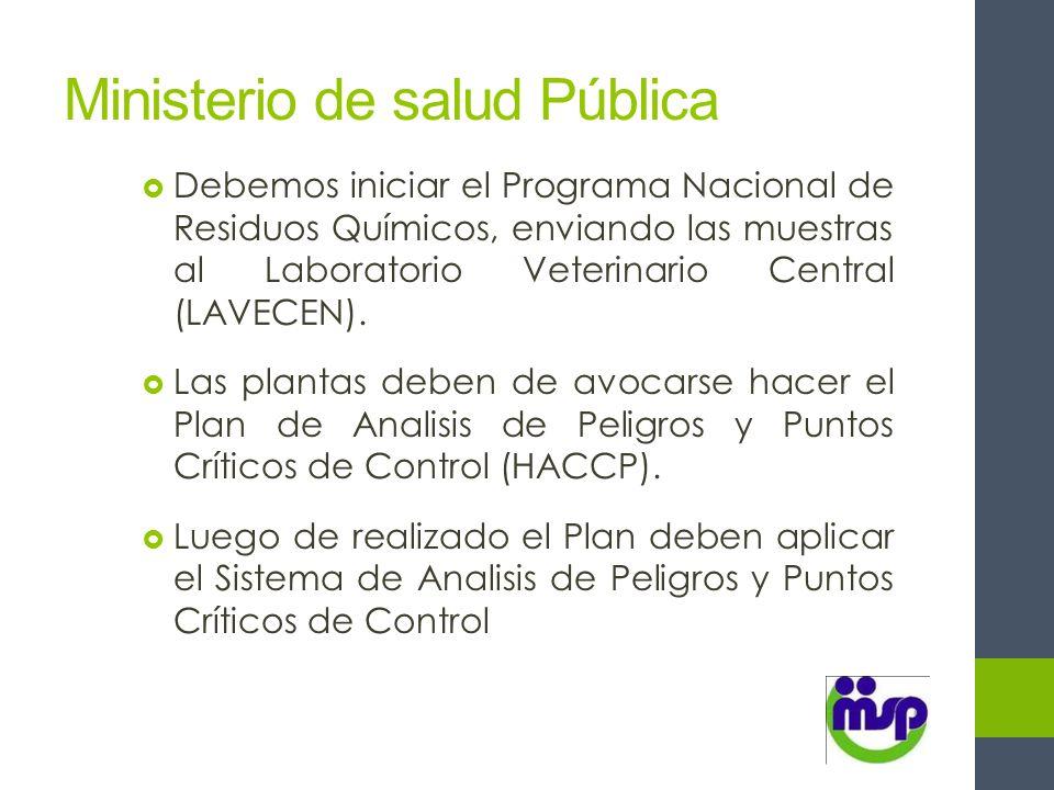 Ministerio de salud Pública Debemos iniciar el Programa Nacional de Residuos Químicos, enviando las muestras al Laboratorio Veterinario Central (LAVEC