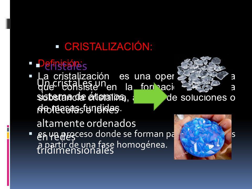 Definición: La cristalización es una operación unitaria que consiste en la formación de una substancia cristalina, a partir de soluciones o de masas fundidas.