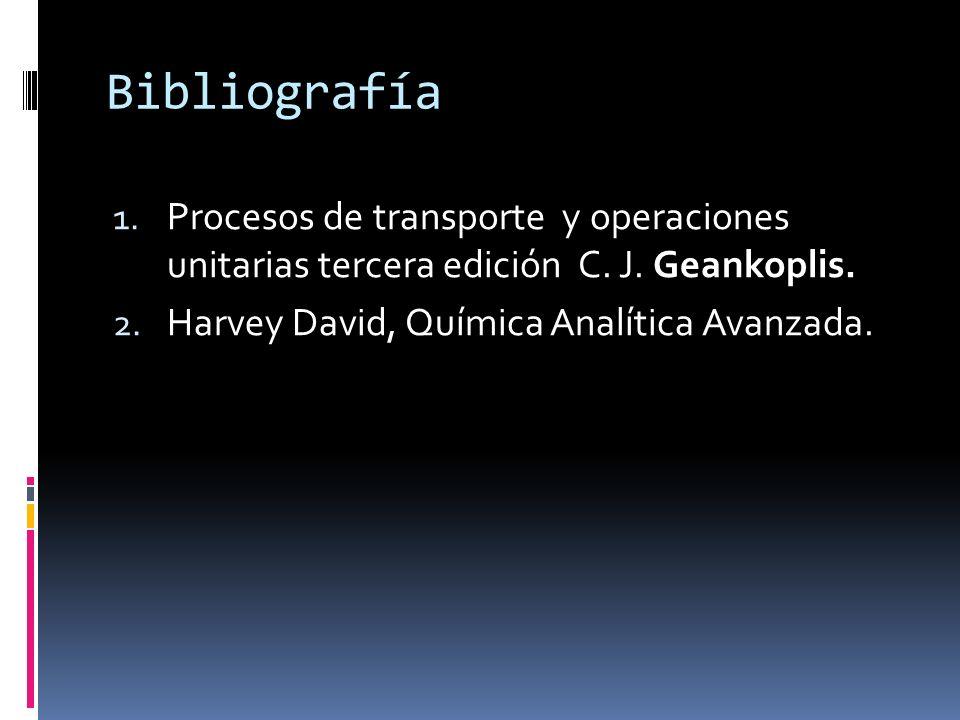 Bibliografía 1. Procesos de transporte y operaciones unitarias tercera edición C. J. Geankoplis. 2. Harvey David, Química Analítica Avanzada.