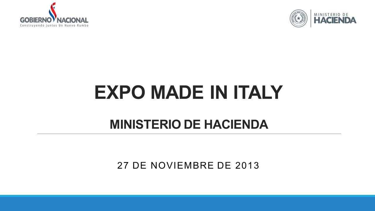 EXPO MADE IN ITALY MINISTERIO DE HACIENDA 27 DE NOVIEMBRE DE 2013
