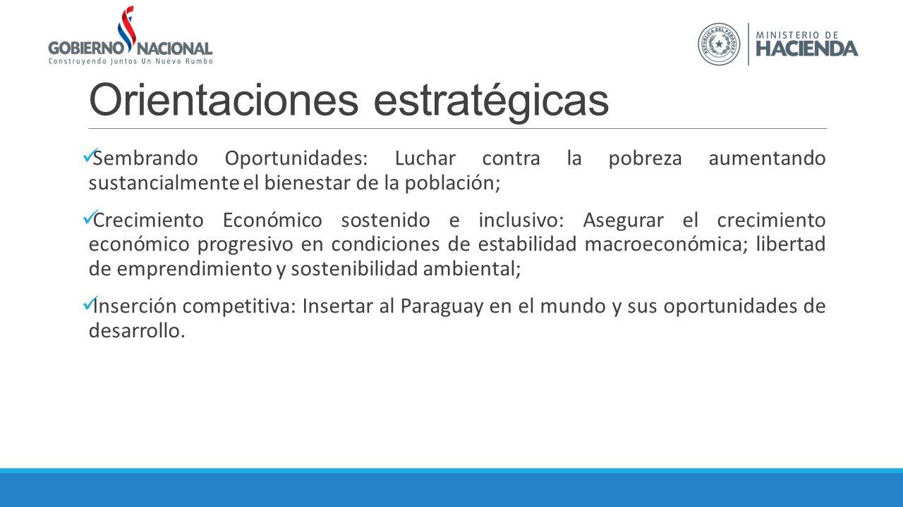 Orientaciones estratégicas Sembrando Oportunidades: Luchar contra la pobreza aumentando sustancialmente el bienestar de la población; Crecimiento Económico sostenido e inclusivo: Asegurar el crecimiento económico progresivo en condiciones de estabilidad macroeconómica; libertad de emprendimiento y sostenibilidad ambiental; Inserción competitiva: Insertar al Paraguay en el mundo y sus oportunidades de desarrollo.