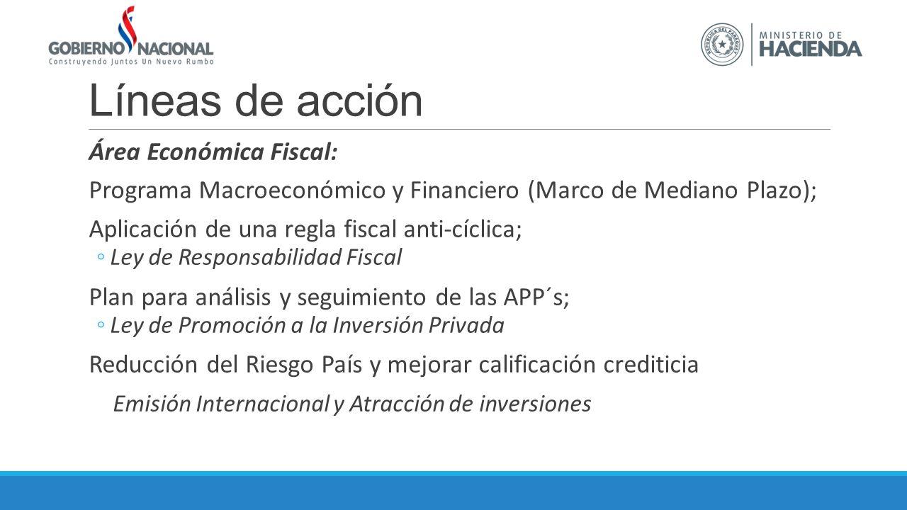 Líneas de acción Área Económica Fiscal: Programa Macroeconómico y Financiero (Marco de Mediano Plazo); Aplicación de una regla fiscal anti-cíclica; Ley de Responsabilidad Fiscal Plan para análisis y seguimiento de las APP´s; Ley de Promoción a la Inversión Privada Reducción del Riesgo País y mejorar calificación crediticia Emisión Internacional y Atracción de inversiones