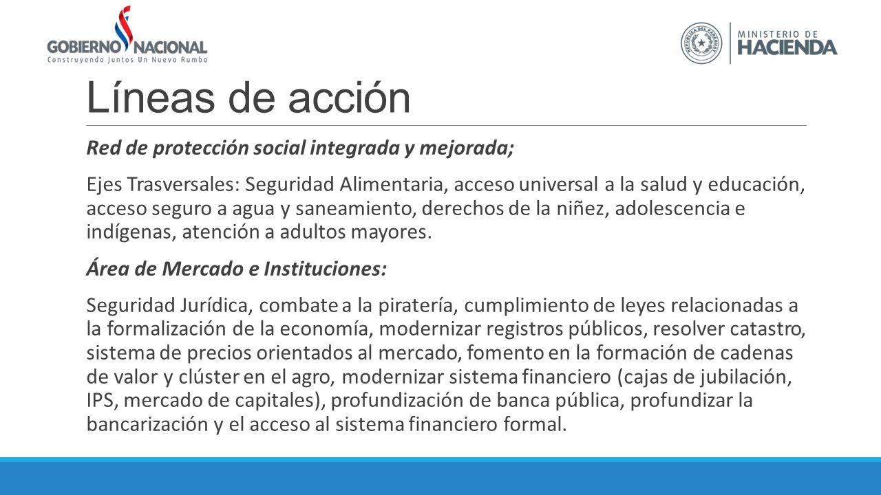 Líneas de acción Red de protección social integrada y mejorada; Ejes Trasversales: Seguridad Alimentaria, acceso universal a la salud y educación, acceso seguro a agua y saneamiento, derechos de la niñez, adolescencia e indígenas, atención a adultos mayores.