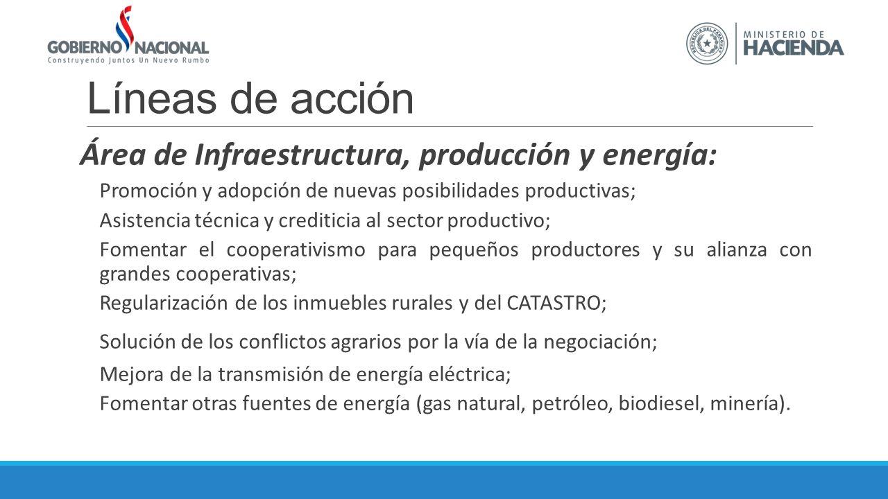 Líneas de acción Área de Infraestructura, producción y energía: Promoción y adopción de nuevas posibilidades productivas; Asistencia técnica y crediti