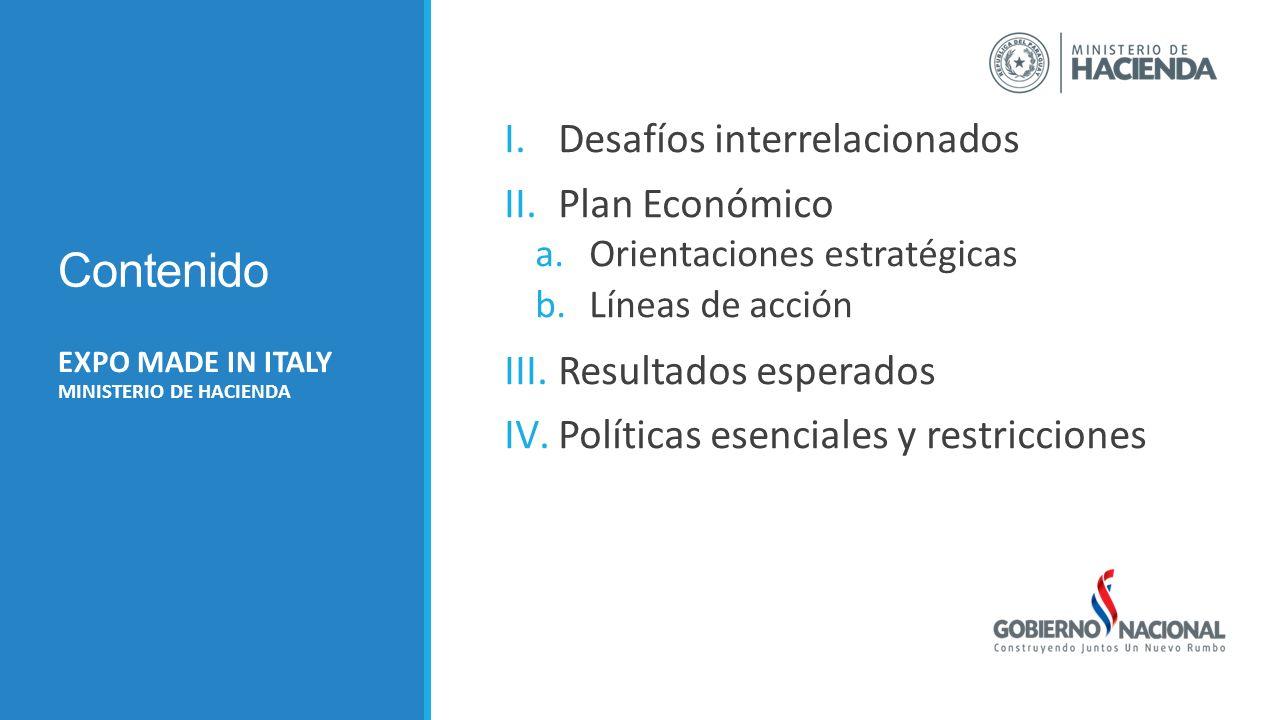 Contenido I.Desafíos interrelacionados II.Plan Económico a.Orientaciones estratégicas b.Líneas de acción III.Resultados esperados IV.Políticas esenciales y restricciones EXPO MADE IN ITALY MINISTERIO DE HACIENDA