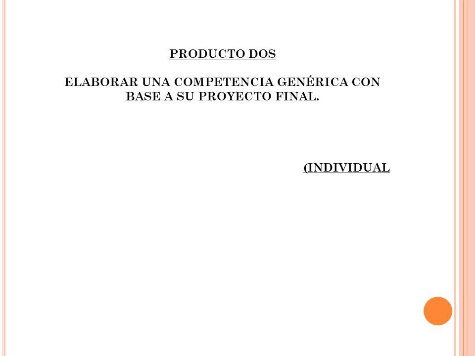 PRODUCTO DOS ELABORAR UNA COMPETENCIA GENÉRICA CON BASE A SU PROYECTO FINAL. (INDIVIDUAL