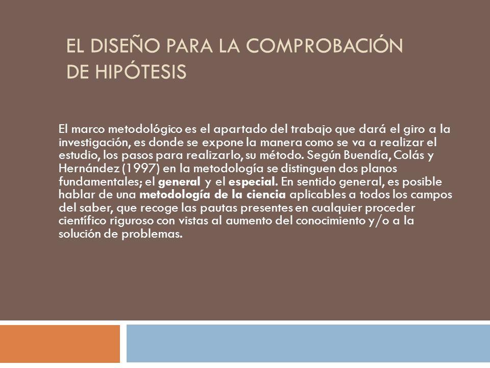 EL DISEÑO PARA LA COMPROBACIÓN DE HIPÓTESIS El marco metodológico es el apartado del trabajo que dará el giro a la investigación, es donde se expone l