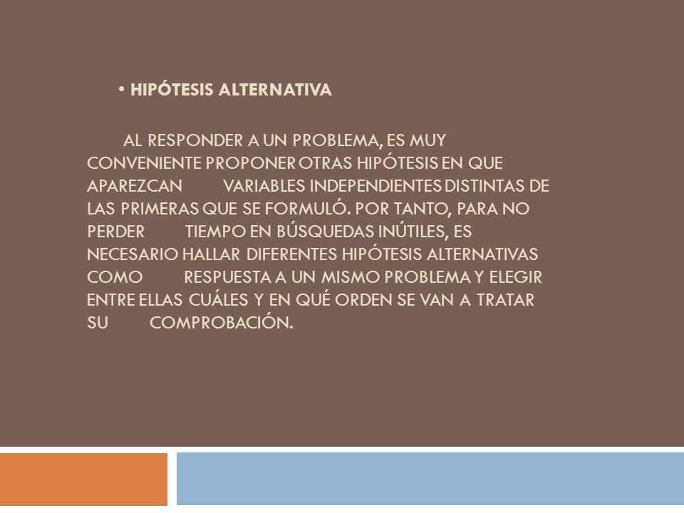 HIPÓTESIS ALTERNATIVA AL RESPONDER A UN PROBLEMA, ES MUY CONVENIENTE PROPONER OTRAS HIPÓTESIS EN QUE APAREZCAN VARIABLES INDEPENDIENTES DISTINTAS DE L