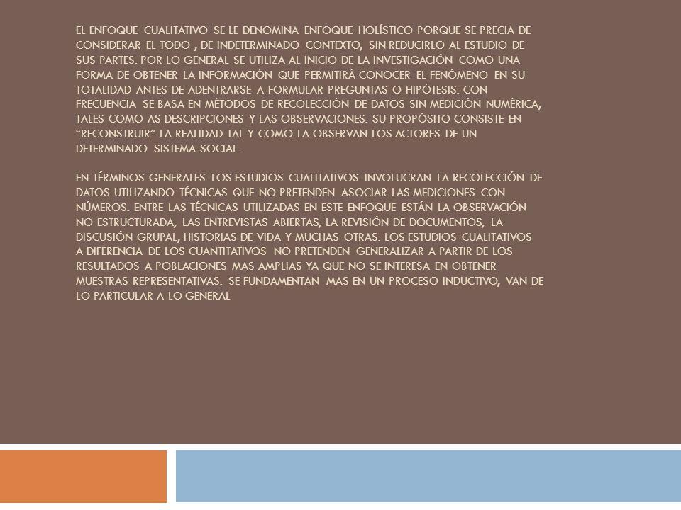EL ENFOQUE CUALITATIVO SE LE DENOMINA ENFOQUE HOLÍSTICO PORQUE SE PRECIA DE CONSIDERAR EL TODO, DE INDETERMINADO CONTEXTO, SIN REDUCIRLO AL ESTUDIO DE
