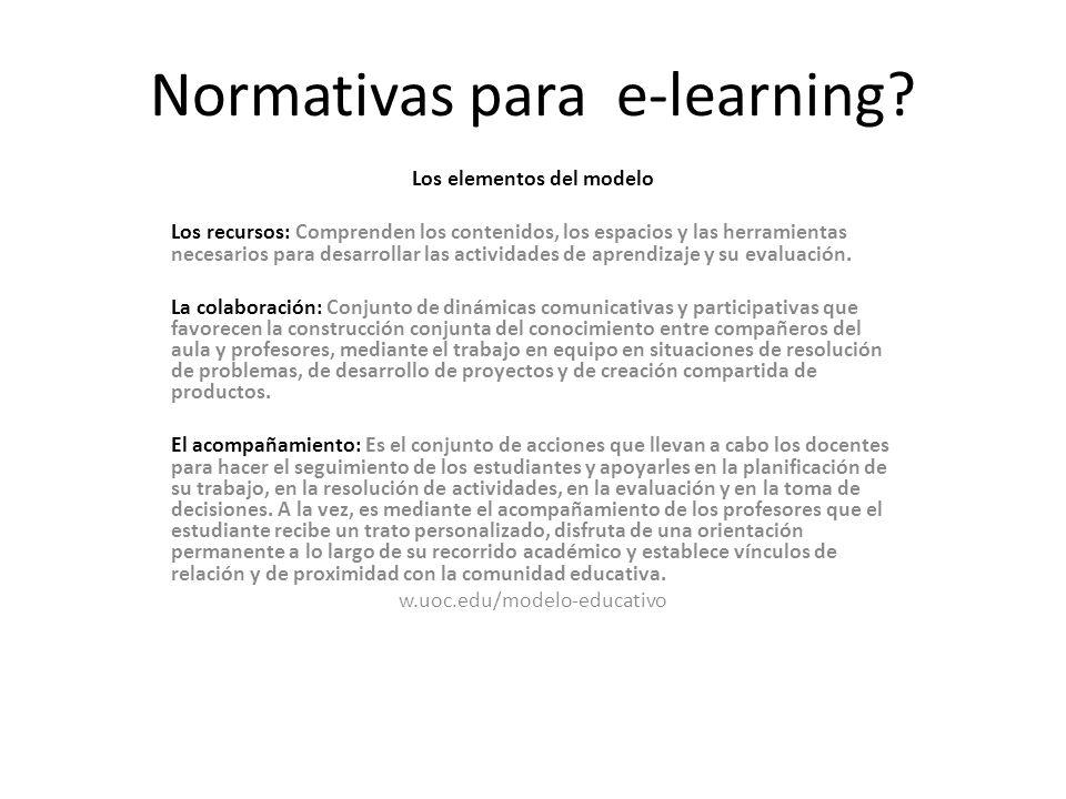 Normativas para e-learning.