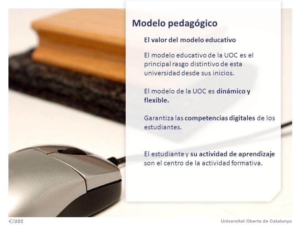 Modelo pedagógico El valor del modelo educativo El modelo educativo de la UOC es el principal rasgo distintivo de esta universidad desde sus inicios.