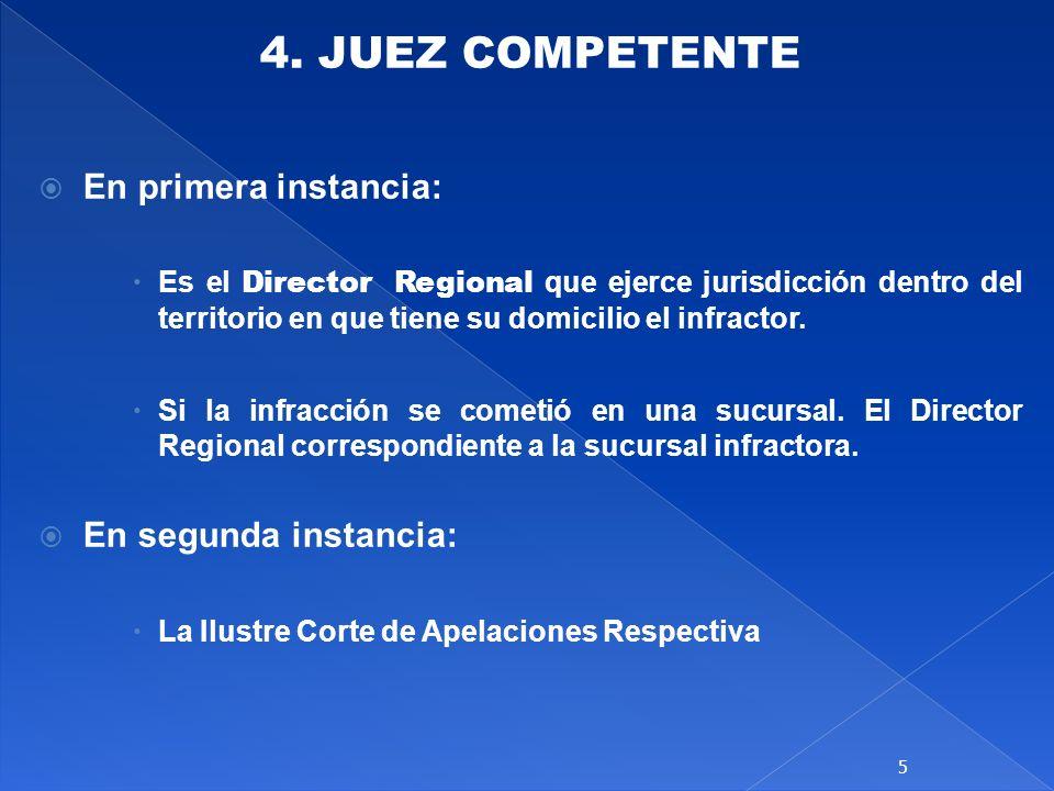 4. JUEZ COMPETENTE En primera instancia: Es el Director Regional que ejerce jurisdicción dentro del territorio en que tiene su domicilio el infractor.