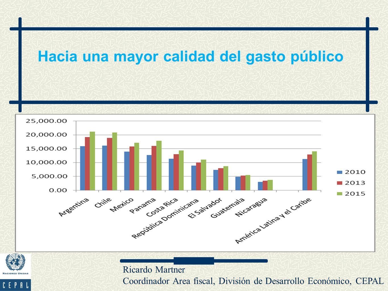 Ricardo Martner Coordinador Area fiscal, División de Desarrollo Económico, CEPAL Hacia una mayor calidad del gasto público