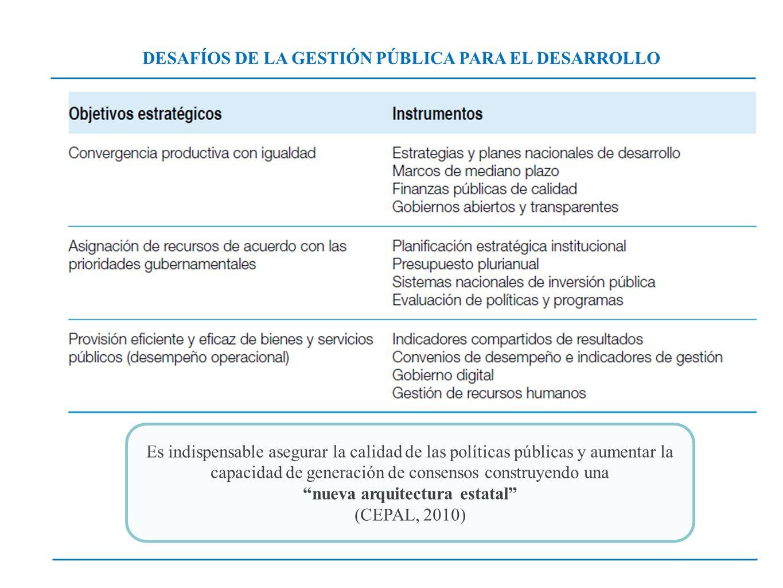 DESAFÍOS DE LA GESTIÓN PÚBLICA PARA EL DESARROLLO Es indispensable asegurar la calidad de las políticas públicas y aumentar la capacidad de generación