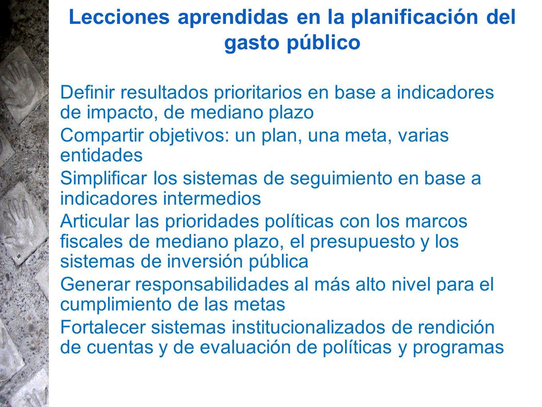 Lecciones aprendidas en la planificación del gasto público Definir resultados prioritarios en base a indicadores de impacto, de mediano plazo Comparti