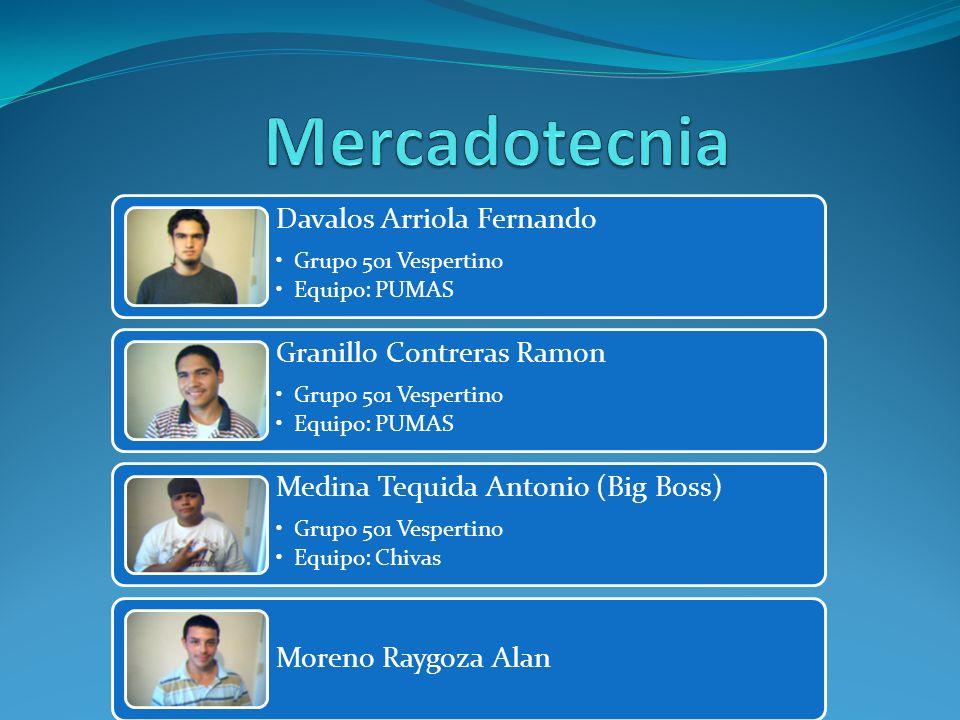 Davalos Arriola Fernando Grupo 501 Vespertino Equipo: PUMAS Granillo Contreras Ramon Grupo 501 Vespertino Equipo: PUMAS Medina Tequida Antonio (Big Bo