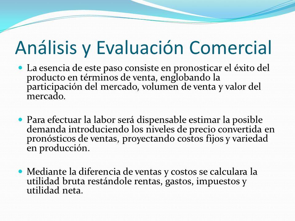 Análisis y Evaluación Comercial La esencia de este paso consiste en pronosticar el éxito del producto en términos de venta, englobando la participació