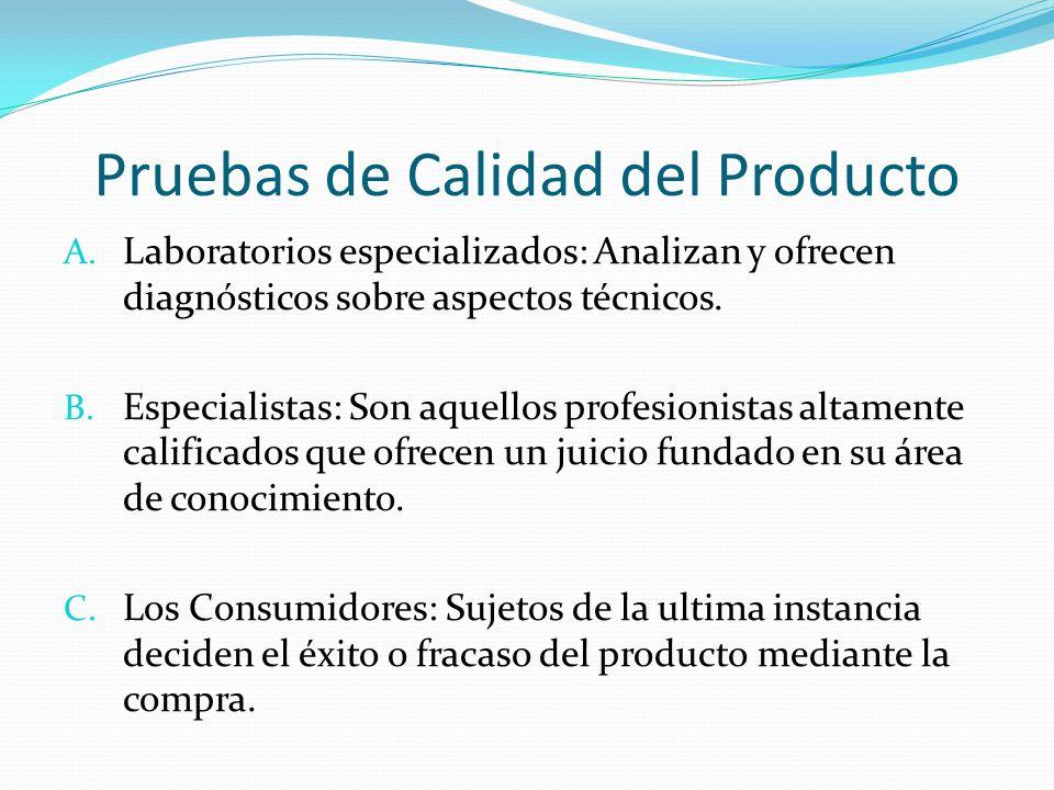 Pruebas de Calidad del Producto A. Laboratorios especializados: Analizan y ofrecen diagnósticos sobre aspectos técnicos. B. Especialistas: Son aquello