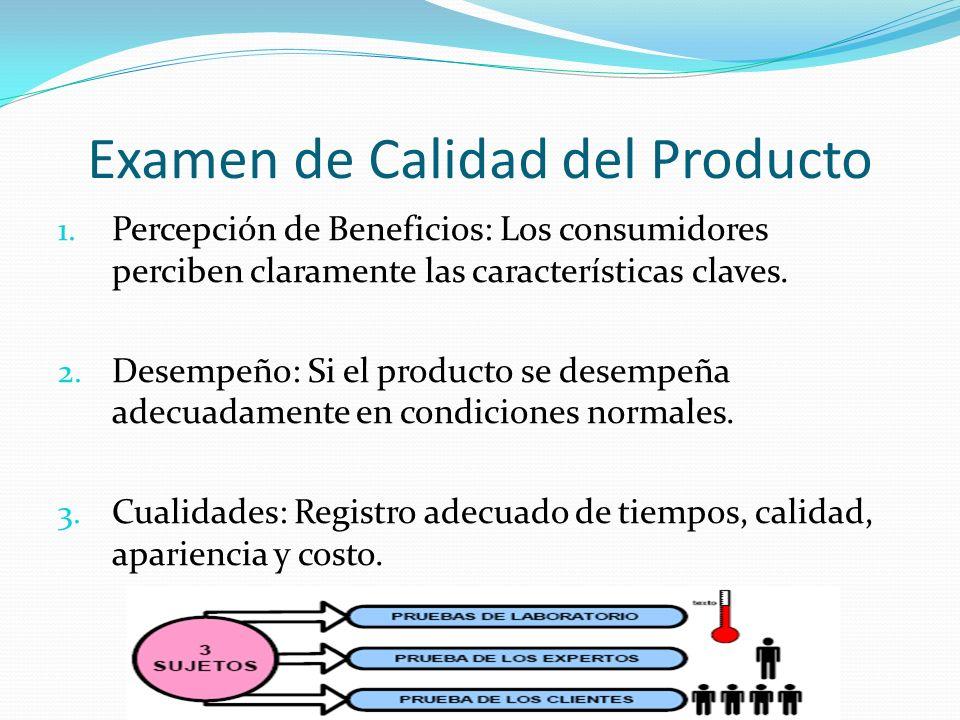 Examen de Calidad del Producto 1. Percepción de Beneficios: Los consumidores perciben claramente las características claves. 2. Desempeño: Si el produ