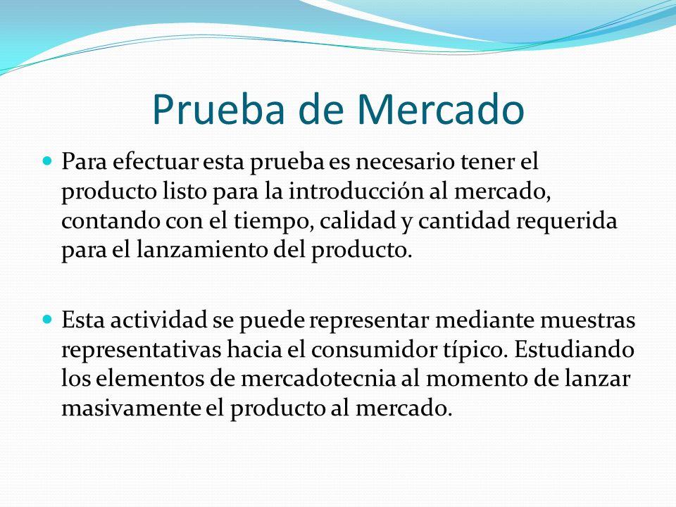 Prueba de Mercado Para efectuar esta prueba es necesario tener el producto listo para la introducción al mercado, contando con el tiempo, calidad y ca