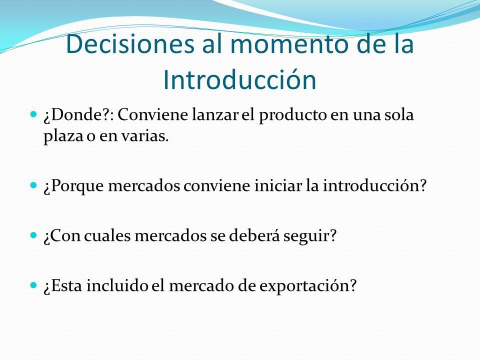 Decisiones al momento de la Introducción ¿Donde?: Conviene lanzar el producto en una sola plaza o en varias. ¿Porque mercados conviene iniciar la intr