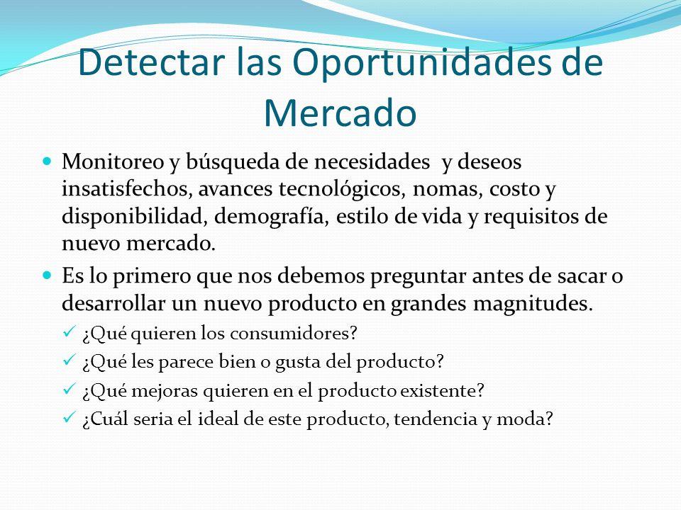 Detectar las Oportunidades de Mercado Monitoreo y búsqueda de necesidades y deseos insatisfechos, avances tecnológicos, nomas, costo y disponibilidad,