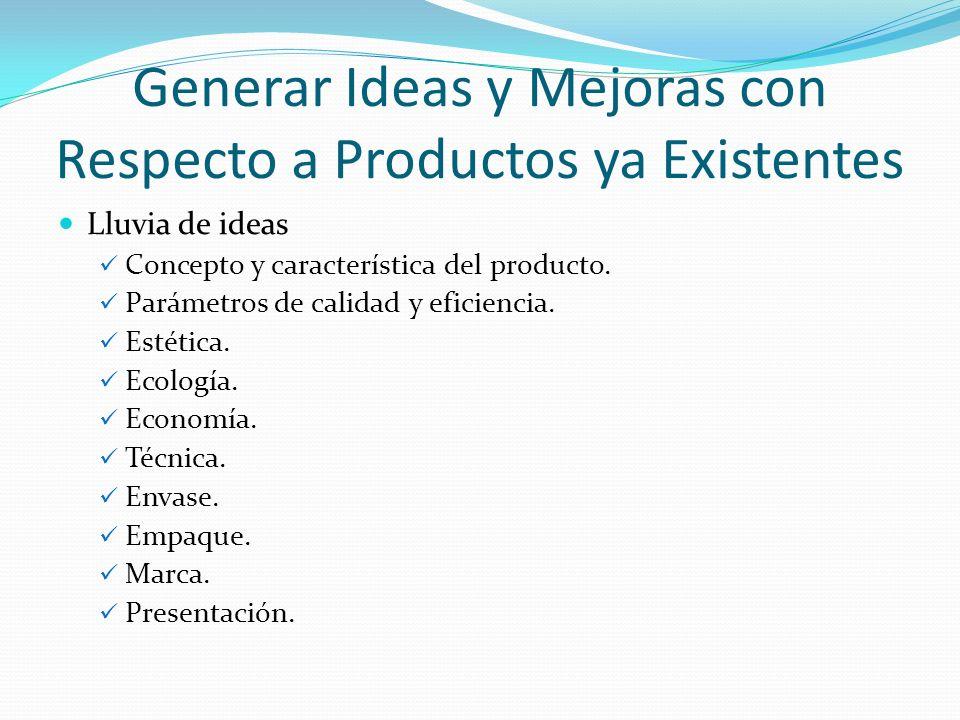 Generar Ideas y Mejoras con Respecto a Productos ya Existentes Lluvia de ideas Concepto y característica del producto. Parámetros de calidad y eficien