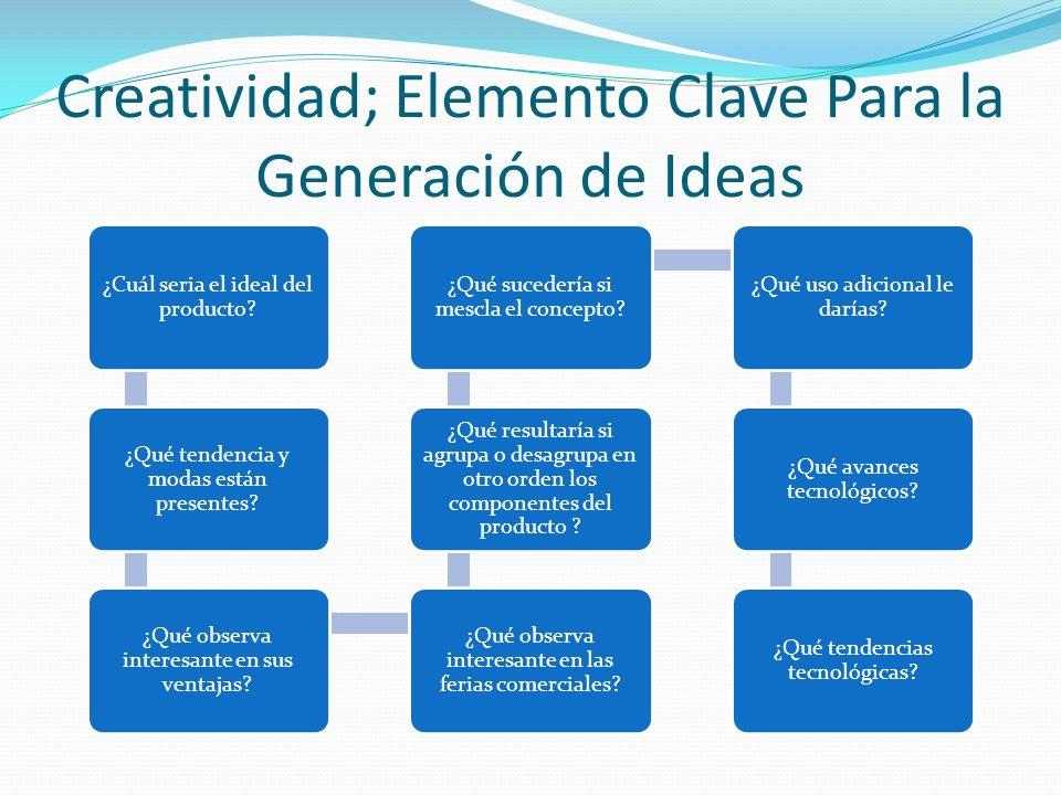 Creatividad; Elemento Clave Para la Generación de Ideas ¿Cuál seria el ideal del producto? ¿Qué tendencia y modas están presentes? ¿Qué observa intere