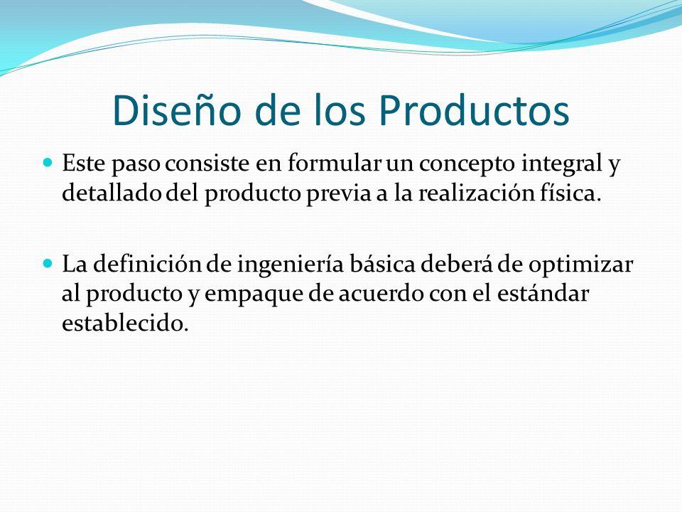 Diseño de los Productos Este paso consiste en formular un concepto integral y detallado del producto previa a la realización física. La definición de