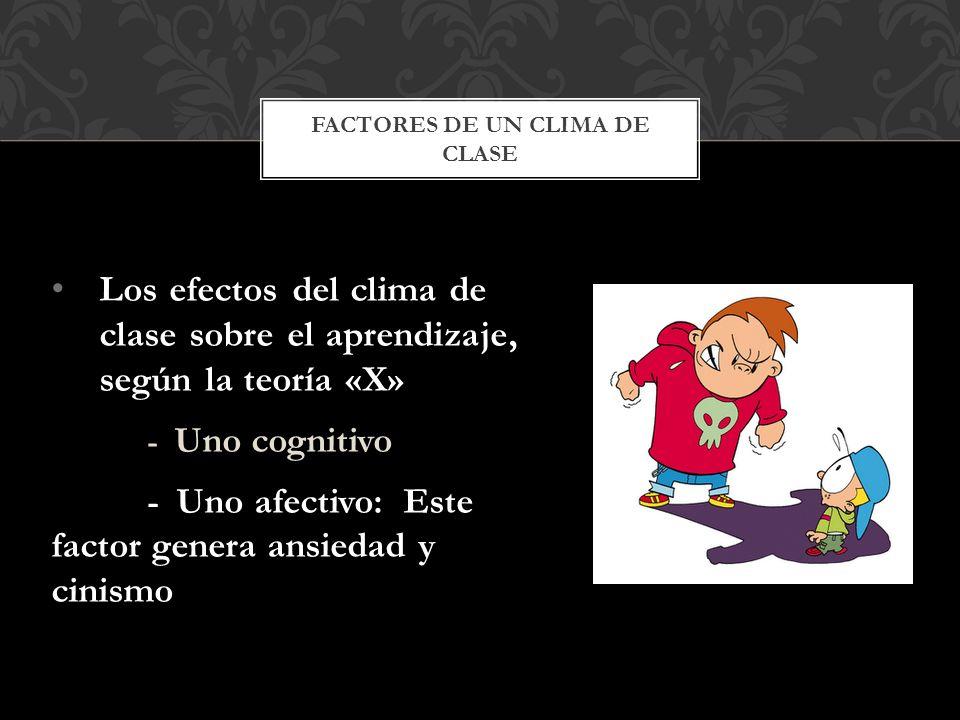 Los efectos del clima de clase sobre el aprendizaje, según la teoría «X» - Uno cognitivo - Uno afectivo: Este factor genera ansiedad y cinismo FACTORE