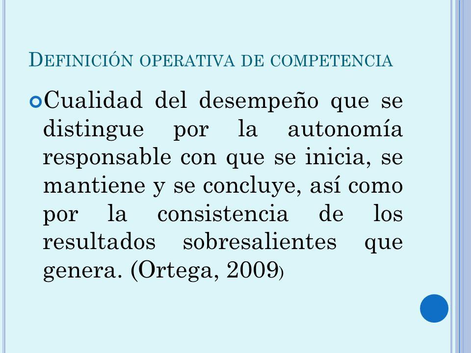 D EFINICIÓN OPERATIVA DE COMPETENCIA Cualidad del desempeño que se distingue por la autonomía responsable con que se inicia, se mantiene y se concluye