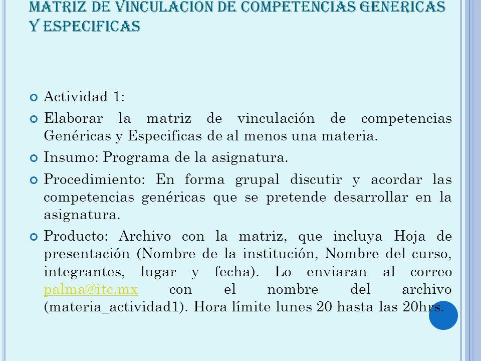 MATRIZ DE VINCULACIÓN DE COMPETENCIAS GENERICAS Y ESPECIFICAS Actividad 1: Elaborar la matriz de vinculación de competencias Genéricas y Especificas d